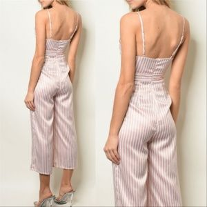MODA ME COUTURE Pants - PANTS JUMPSUIT PINK STRIPED JUMPSUIT